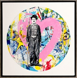 Roundabout - Chaplin by Mr. Brainwash - Original Painting on Box Canvas sized 28x28 inches. Available from Whitewall Galleries
